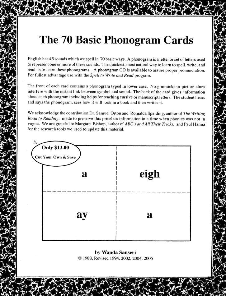 70 Basic Phonogram Cards