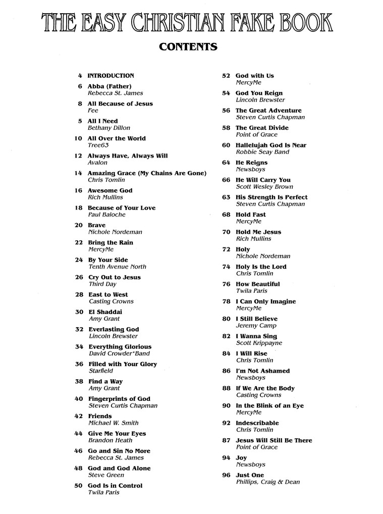 The Easy Christian Fake Book 100 Songs In The Key Of C