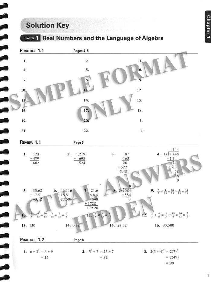 Abeka Algebra 1 Solution Key (Updated Edition)