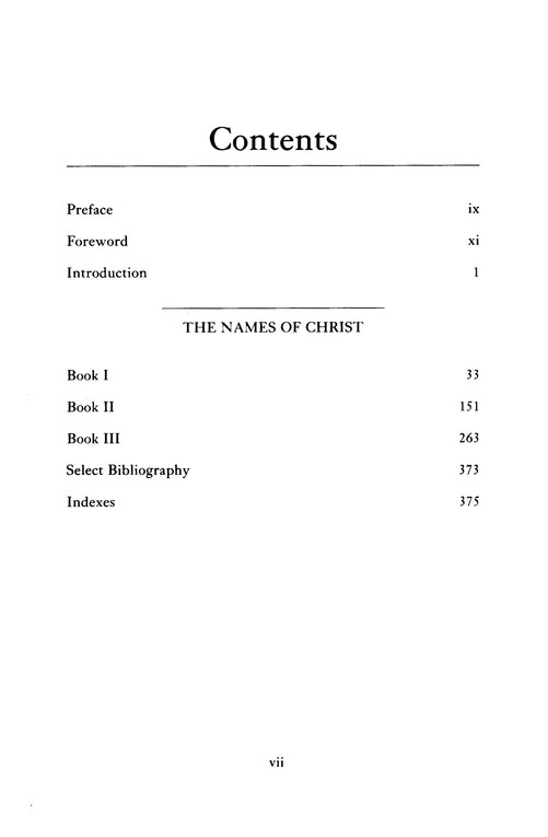 Luis de Leon: The Names of Christ (Classics of Western Spirituality)