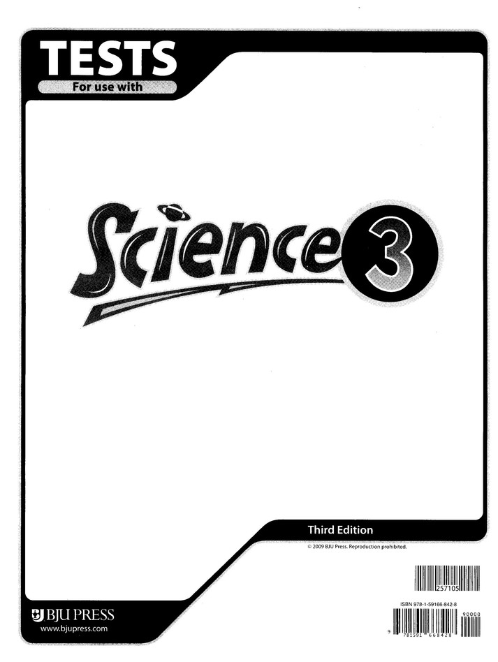 BJU Science Grade 3 Tests, Third Edition