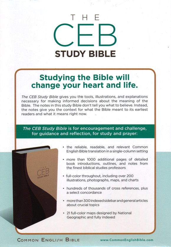 CEB Study Bible--soft leather-look, brown/tan