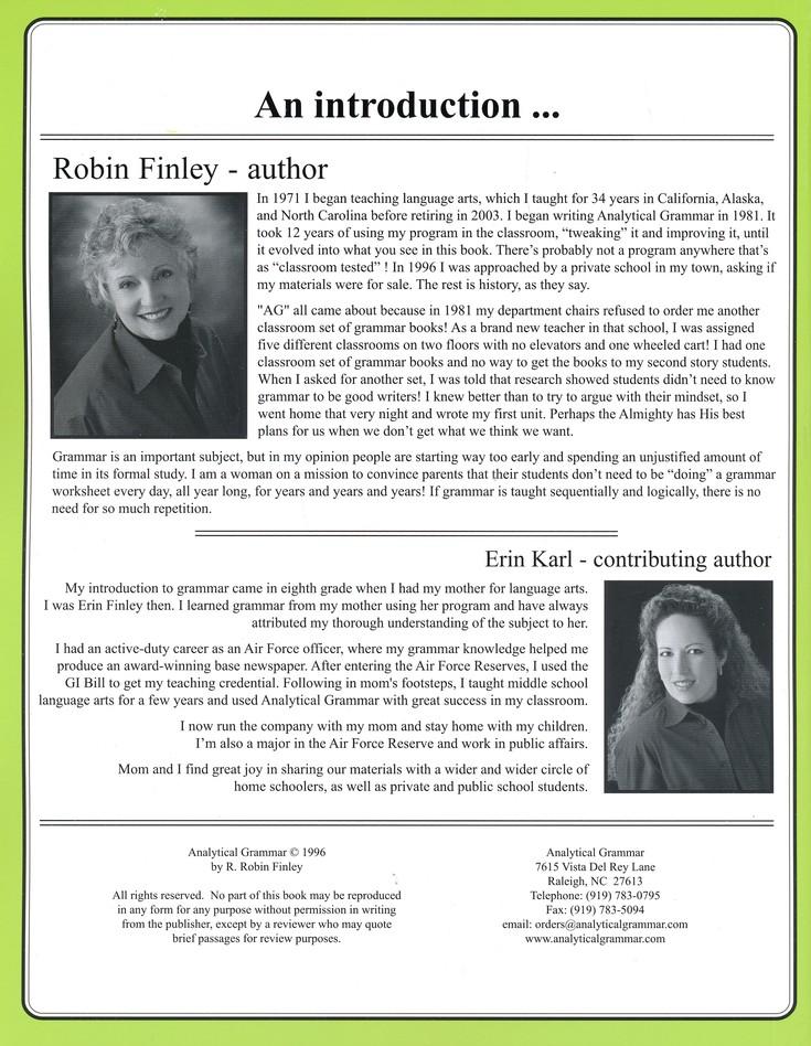 Analytical Grammar Set R Robin Finley Christianbookcom