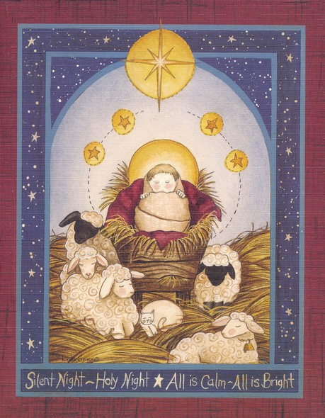 Beautiful Religious Christmas Cards.Christmas Cards Silent Night Baby Jesus With Sheep Box Of 18