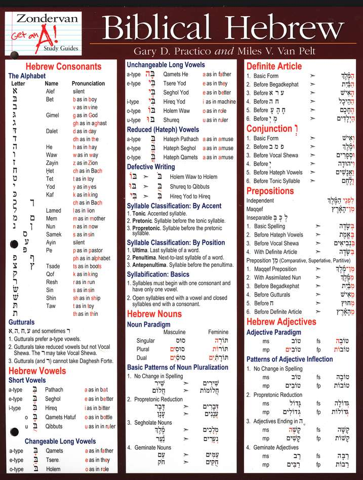 Zondervan Get an A! Study Guide, Biblical Hebrew,    Laminated Sheets