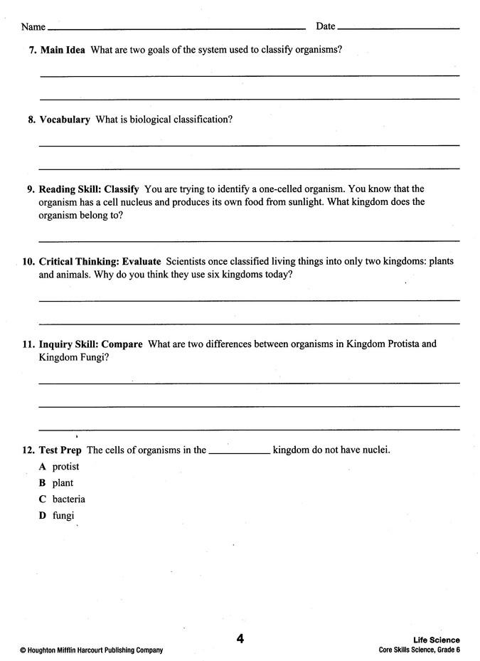 Steck Vaughn Core Skills Science Workbook Grade 6