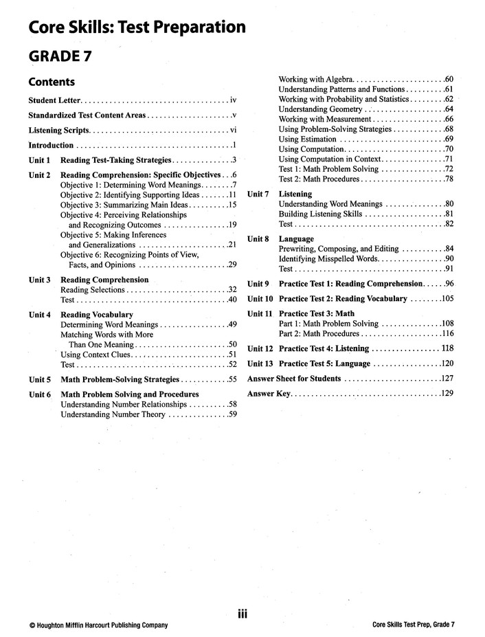 Steck-Vaughn Core Skills Test Preparation Workbook Grade 7