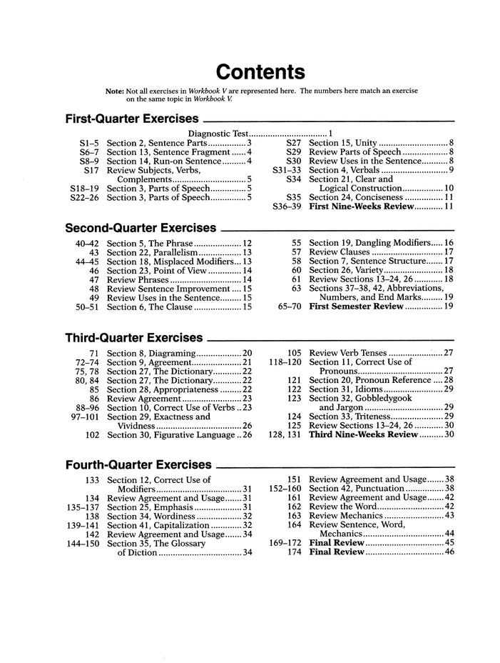 Abeka Workbook V For Handbook Of Grammar And Position Supplementary Exercises