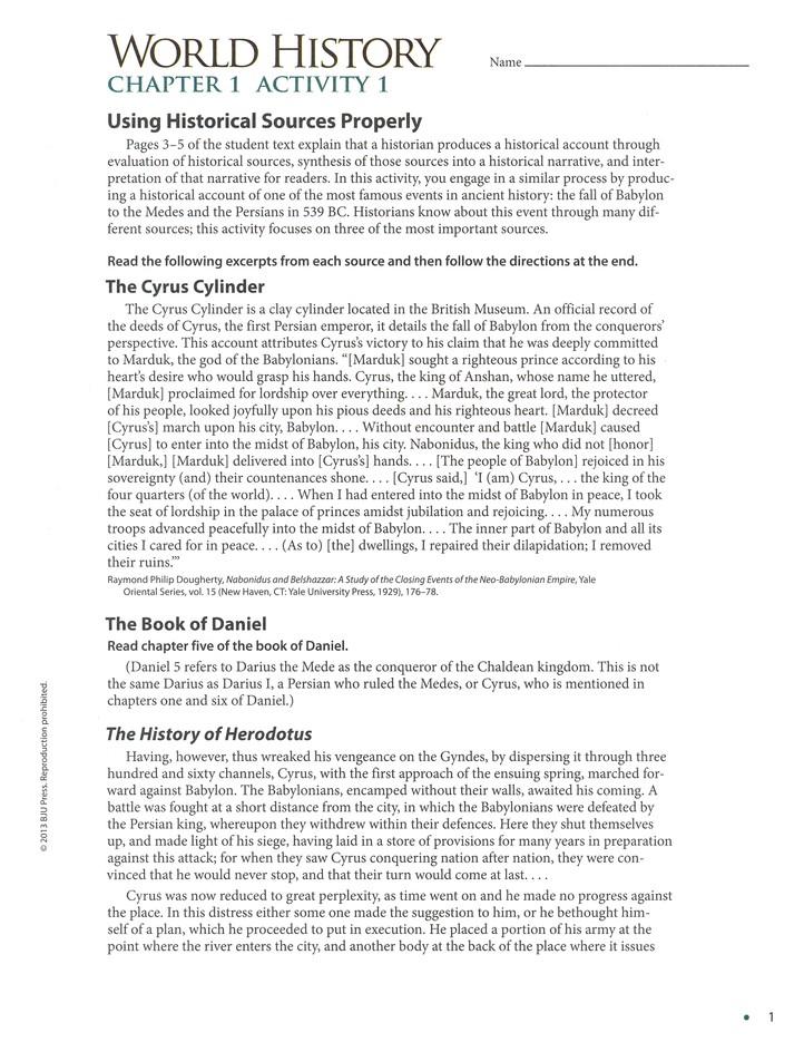 BJU World History Student Activities Manual Grade 10 4th Edition