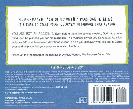 The Purpose Driven Life Devotional for Kids - unabridged audio book on CD