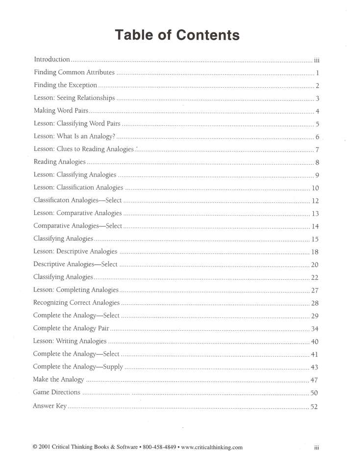 Think Analogies Book B1 Grades 6 8 Cheryl Block 9780894557927