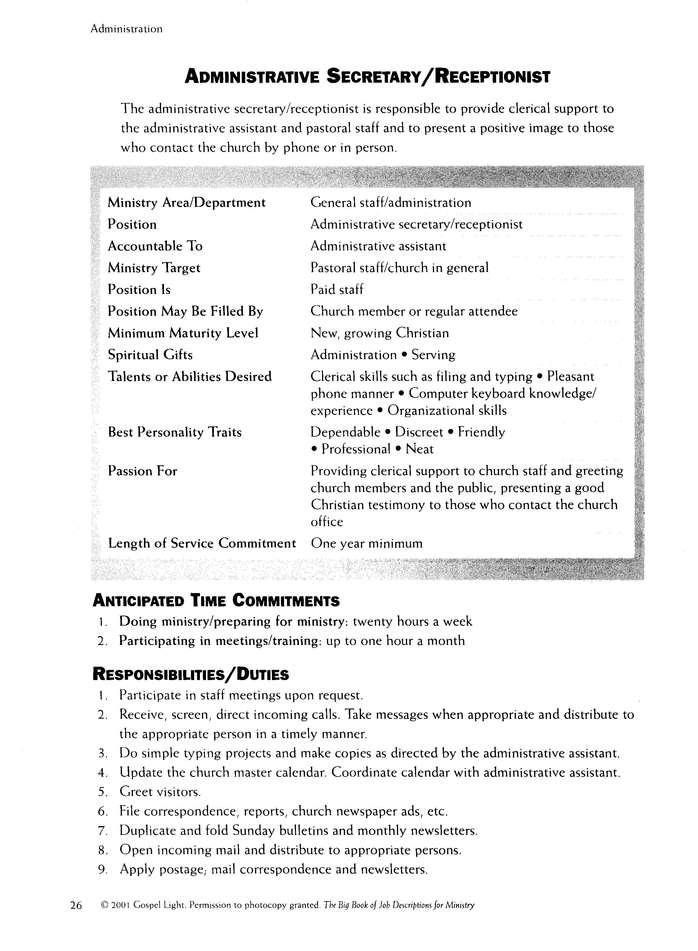 Big Book Of Job Descriptions For Ministry