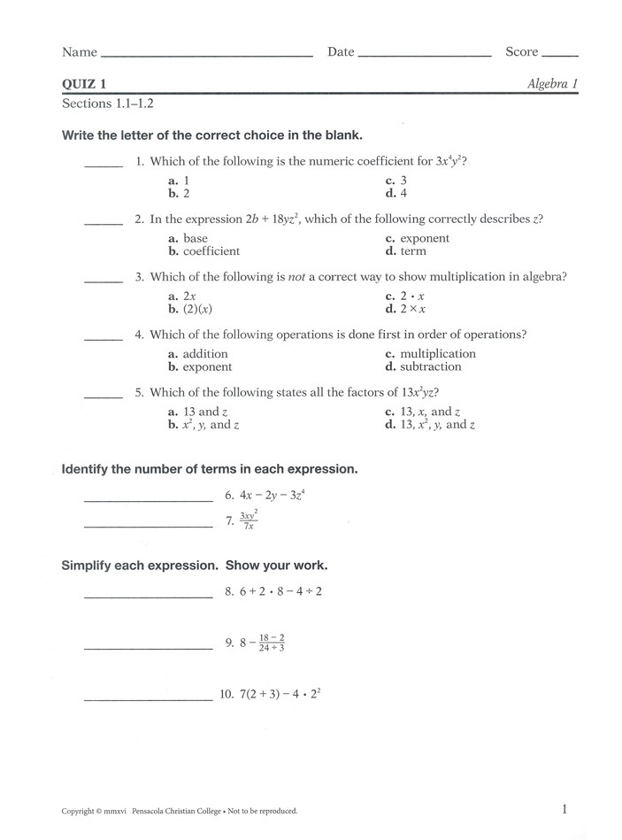 Abeka Algebra 1 Tests/Quizzes (Updated Edition)