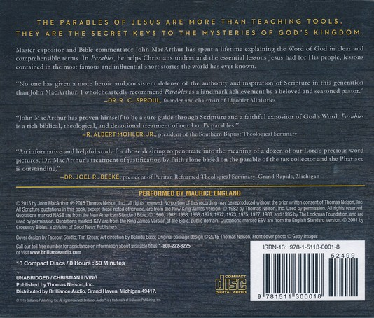 Parables: The Mysteries of God's Kingdom Revealed Through the Stories Jesus  Told - unabridged audio book on CD