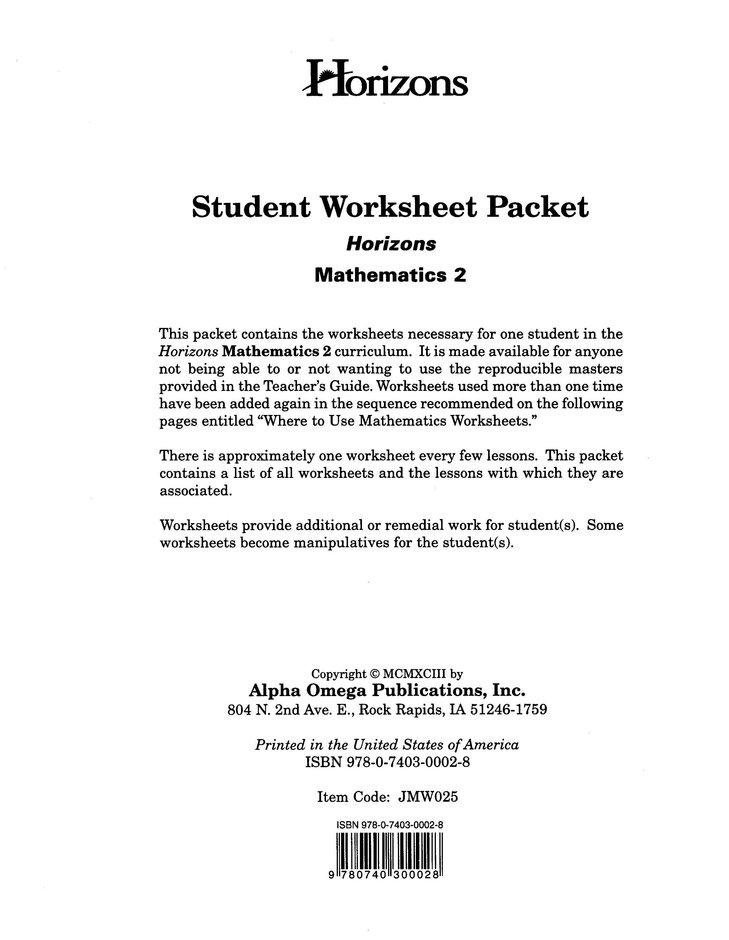 Horizons Mathematics Grade 2 Student worksheet packet