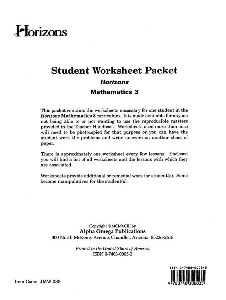 Horizons Mathematics Grade 3 Student Worksheet Packet