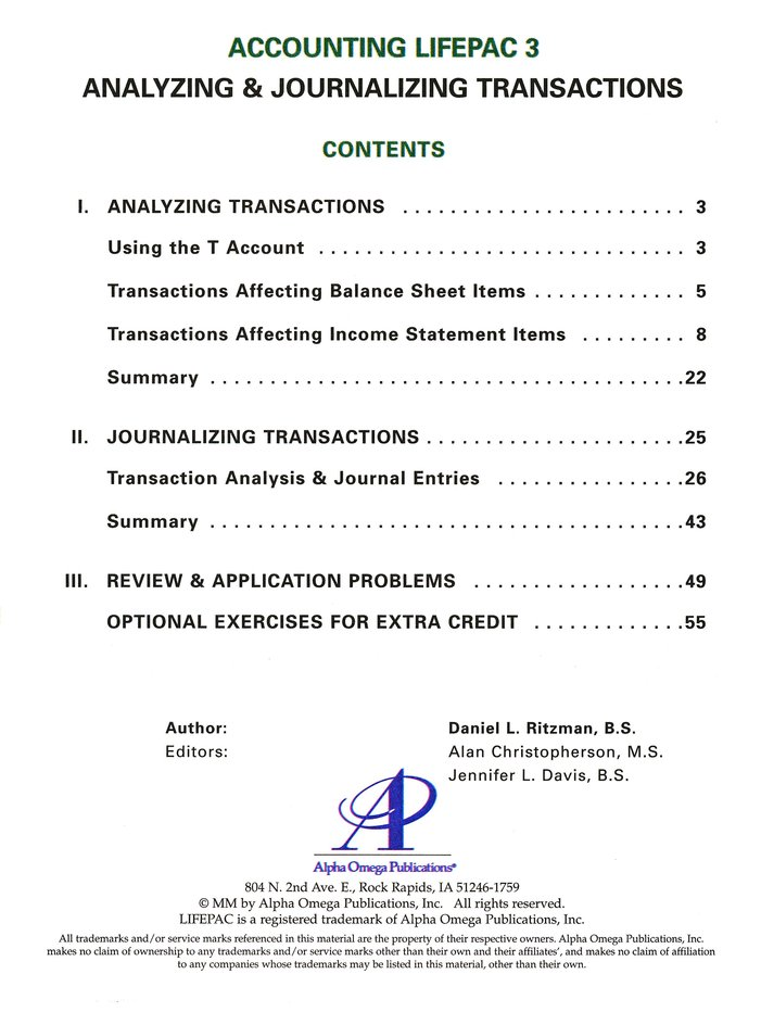 Accounting Lifepac 3: Analyzing and Journalizing Transactions