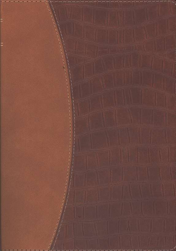 NLT Premium Slimline Large Print Bible TuTone Brown/Alligator