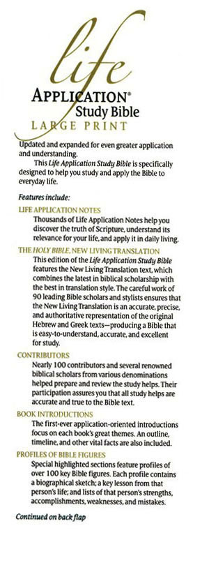 NLT Life Application Study Bible, Large Print Hardcover