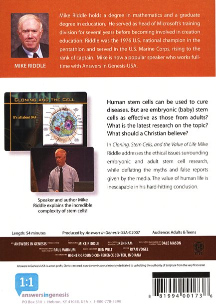 Cloning, Stem Cells, and the Value of Life DVD