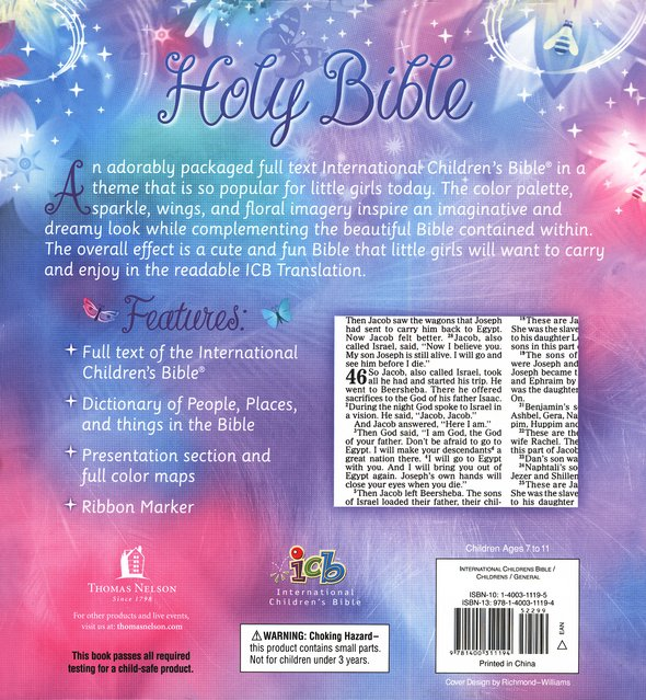 ICB Glitter Wings Compact Bible for Girls