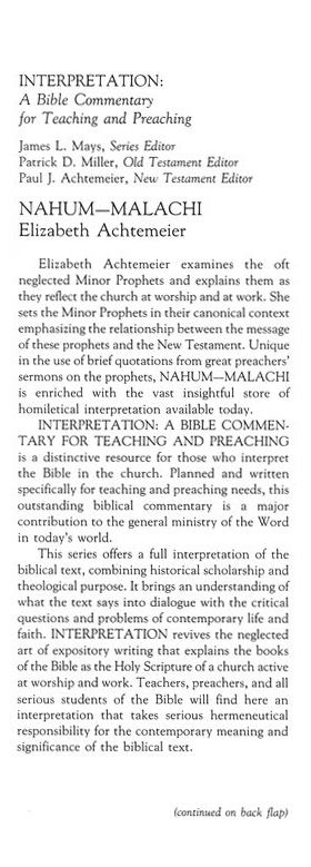 Nahum-Malachi Interpretation Commentary