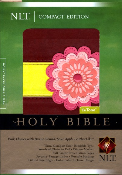 NLT Compact Bible TuTone LeatherLike pink flower w/burnt sienna/sour apple