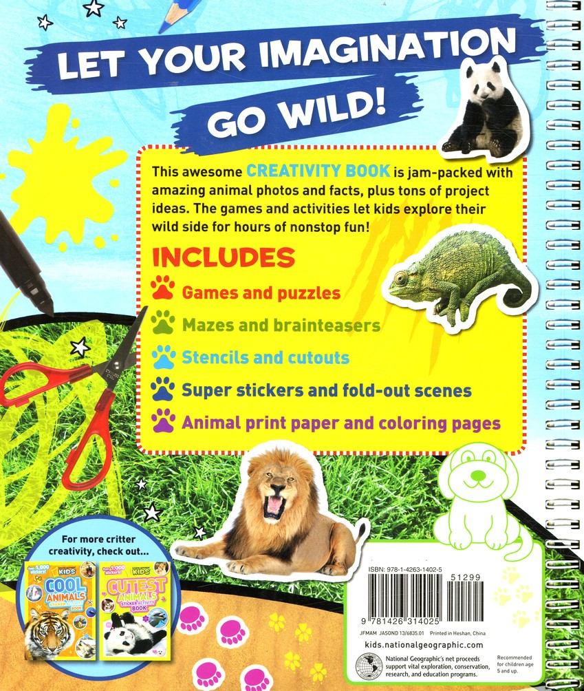 national geographic kids animal creativity book cut outs games