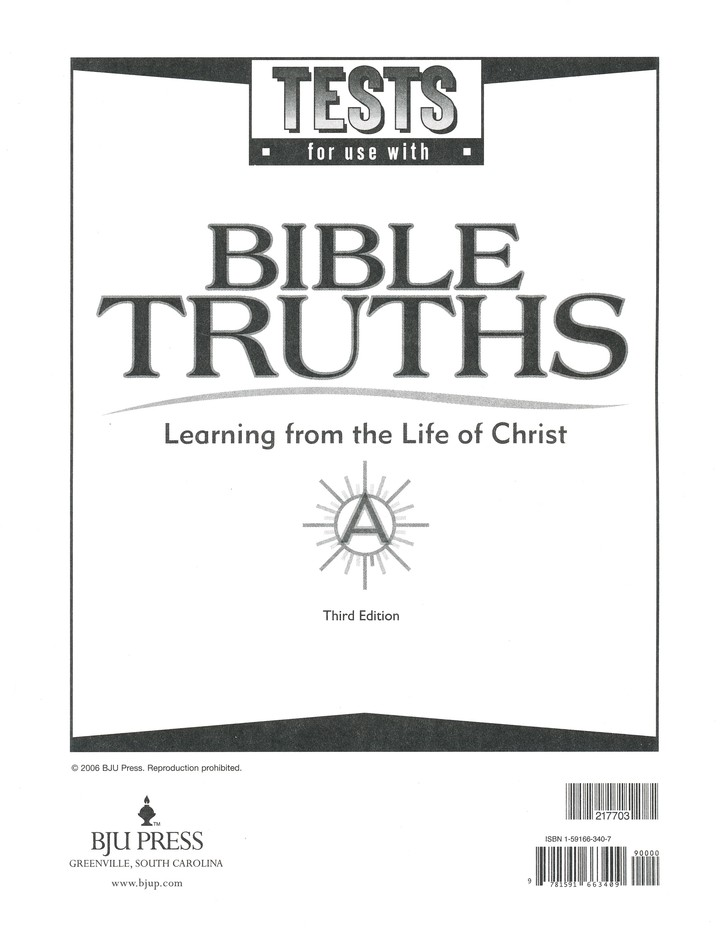 BJU Bible Truths Level A (Grade 7), Testpack 3rd Edition
