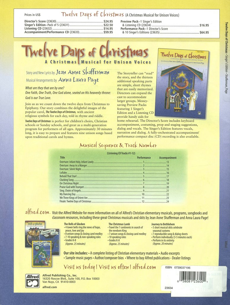 Twelve Days of Christmas: A Christmas Musical for   Unison Voices Preview Pack