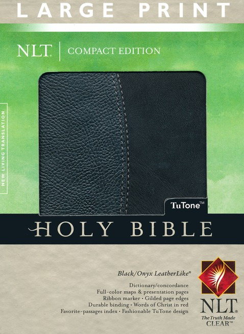 NLT Large Print Compact Edition Bible, TuTone Leatherlike Black & Onyx