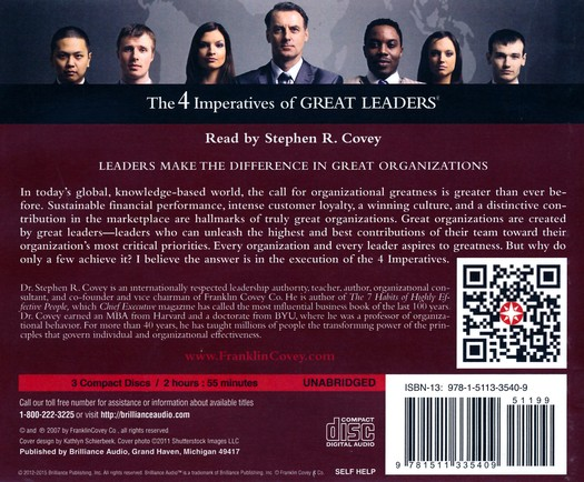 The 4 Imperatives Of Great Leaders Unabridged Audio Book On Cd