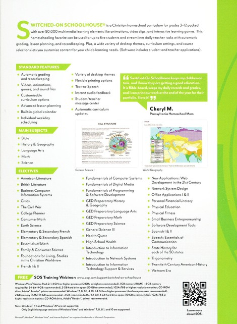SOS SWITCHED ON SCHOOLHOUSE HIGH SCHOOL HEALTH 2016 ELECTIVE Homeschool Software