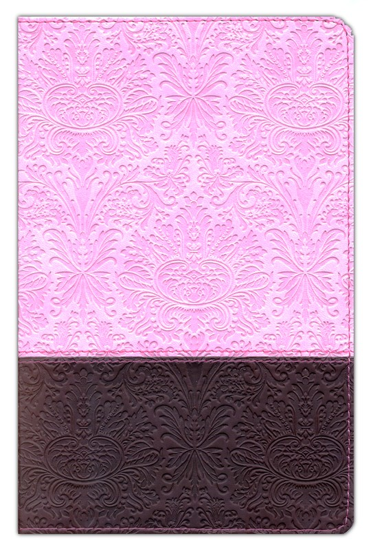 NLT Personal Size Large Print, TuTone Pink and Brown  Imitation Leather, Thumb-Indexed