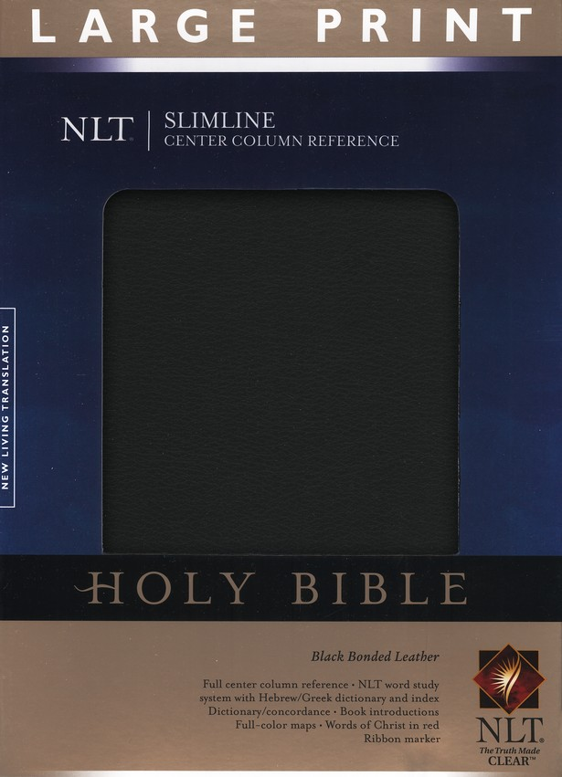 NLT Slimline Reference Bible, Large Print Bonded Black Leather