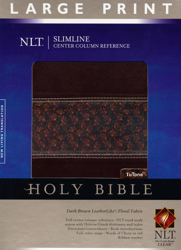 NLT Slimline Reference Bible, Large Print TuTone Leatherlike Brown/Floral