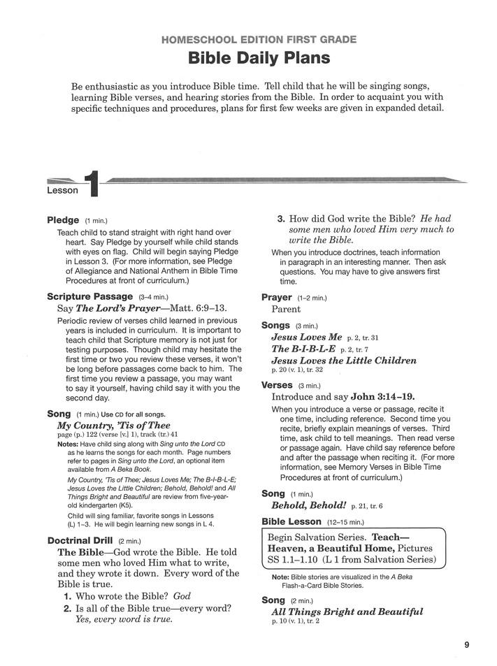 Abeka Homeschool First Grade Bible Curriculum Lesson Plans Christianbook Com