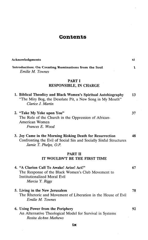 A Troubling in My Soul: Womanist Perspectives on Evil & Suffering