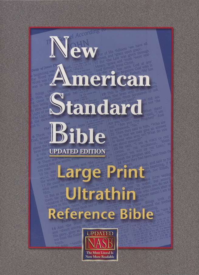 NASB Large-Print UltraThin Reference Bible--genuine leather, black
