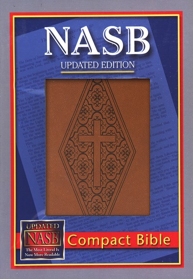 NASB Compact Leatherflex Bible, Brown with Diamond/Cross
