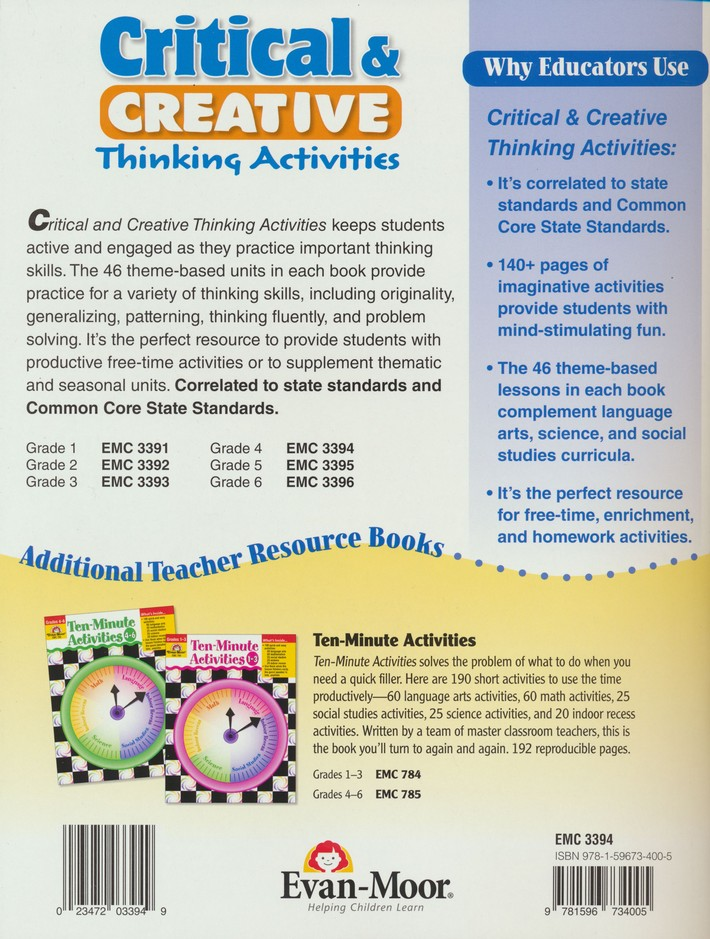 Critical and Creative Thinking Activities, Grade 4