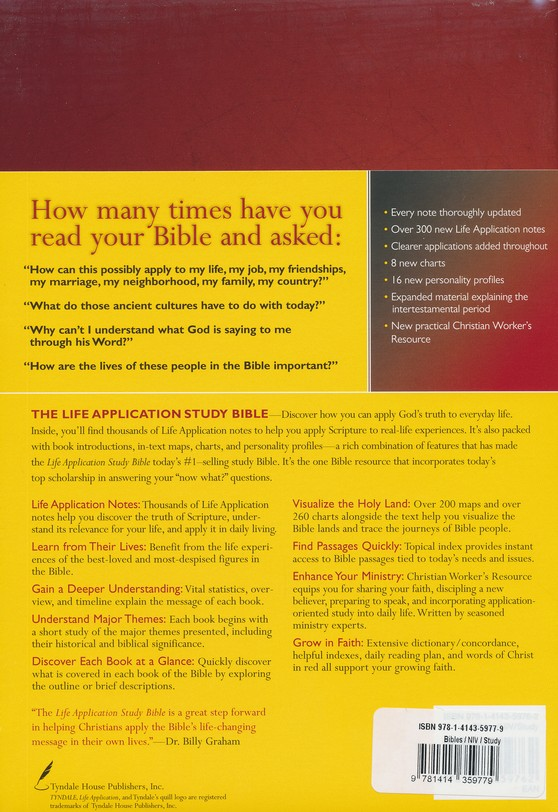 NIV Life Application Study Bible NIV Large Print, Hardcover Indexed