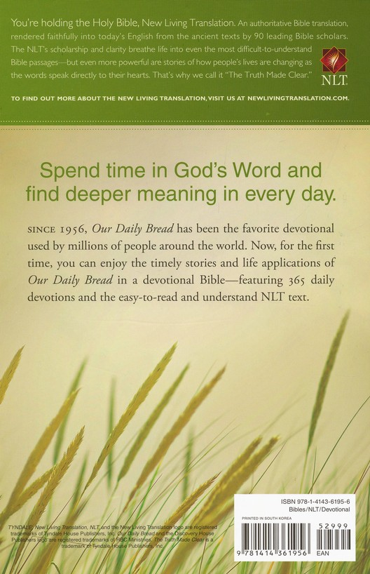 NLT Our Daily Bread Devotional Bible, Hardcover