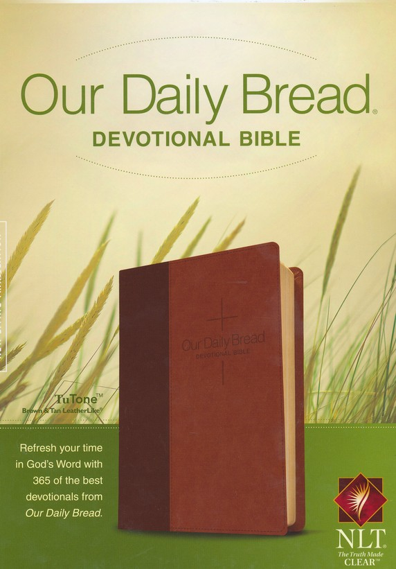 NLT Our Daily Bread Devotional Bible, Leatherlike Brown/Tan