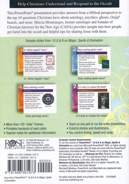 10 Questions & Answers on Magic, Spells, & Divination: Powerpoint CD-ROM