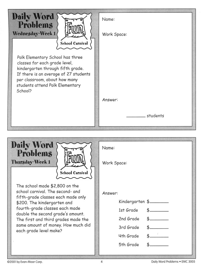 Daily Word Problems Grade 2 Pretend Play agir.ind.br