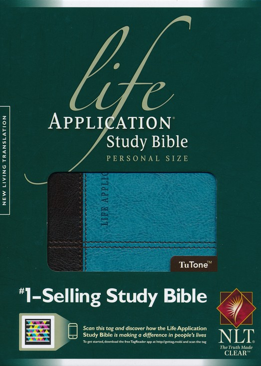 NLT Life Application Study Bible, Personal Size TuTone Dark Brown/Teal Leatherlike