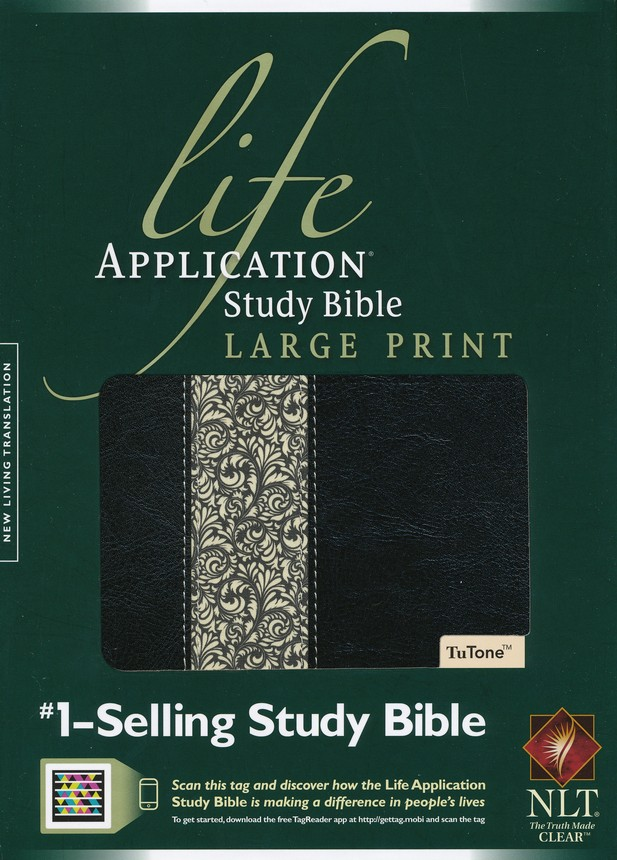 NLT Life Application Study Bible Large Print, TuTone Black/Ivory Flower LeatherLike
