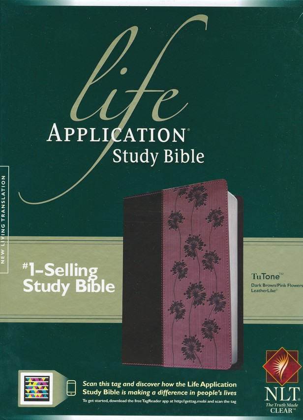NLT Life Application Study Bible, TuTone Dark Brown / Pink Flowers Imitation Leather