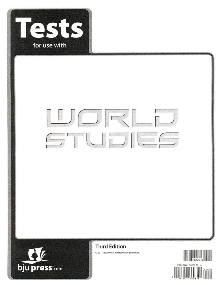 BJU World Studies Grade 7 Test Pack, Third Edition
